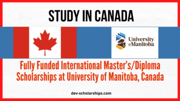 University of Manitoba International Master's/Diploma Scholarships, Canada (Fully Funded)