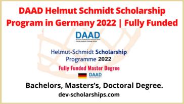 DAAD Helmut Schmidt Scholarship Program in Germany 2022 | Fully Funded